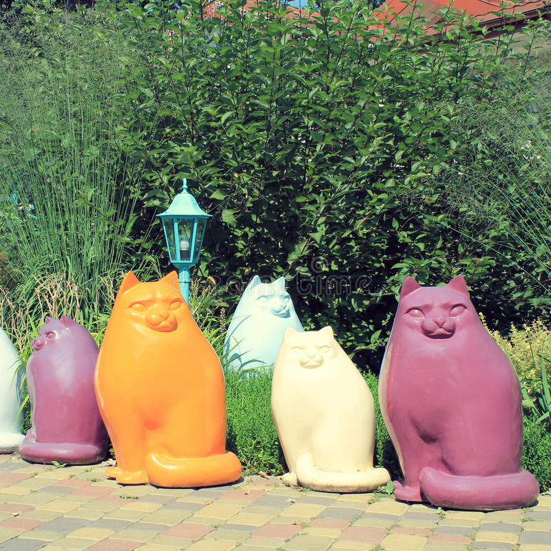 Download Multicolor Ceramic Cat Statues In The Garden Stock Photo   Image  Of Sculpture, Knick