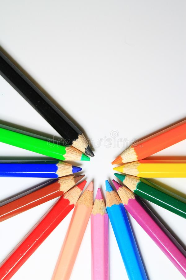 Multicolor Colored Pencils royalty free stock photo