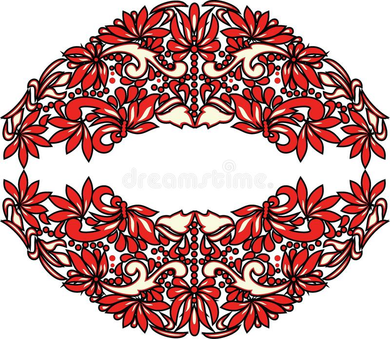Beautiful folk art, floral decoration stock photography