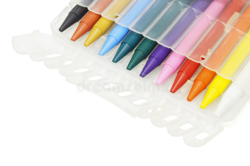Multicolor crayons in plastic case stock photo