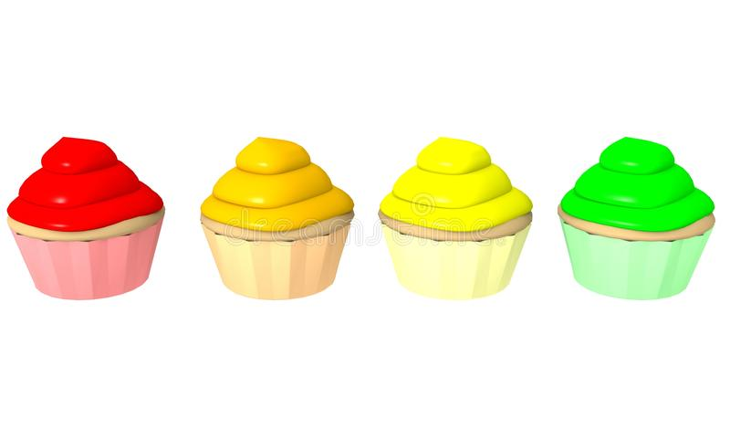 Multicolor cupcakes 1 - 3d computer generated royalty free illustration