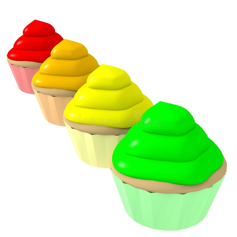 Multicolor cupcakes 2 - 3d computer generated royalty free illustration