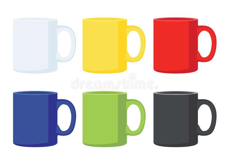 Multicolor de la taza de café negro verde azul rojo amarillo blanco del multicolor de muchas tazas de café ilustración del vector