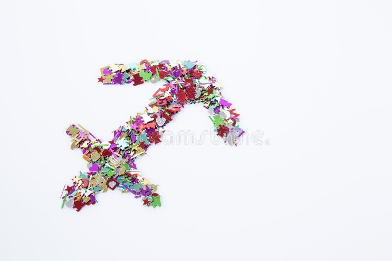 Multicolor del sagitario del símbolo del zodiaco aislado en un backgro blanco imágenes de archivo libres de regalías