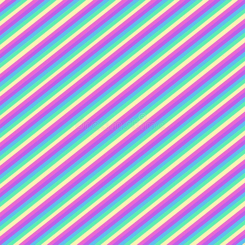 Multicolor diagonal stripes, seamless pattern stock illustration