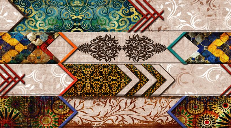 Multicolor Digital Wall Tile Decor For interior Home or Ceramic wall tile Design. wallpaper, linoleum, textile, web page stock illustration