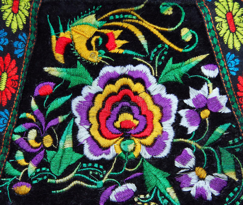 Multicolor ethnic handmade embroidery pattern stock images
