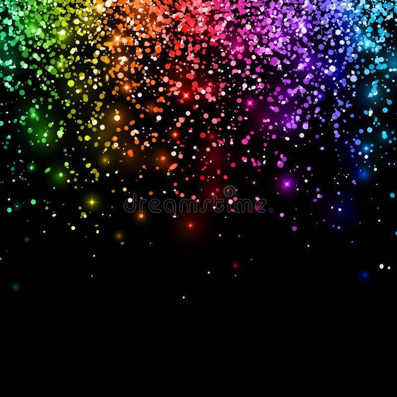 Multicolor falling glitter on black background. Vector. Illustration stock illustration
