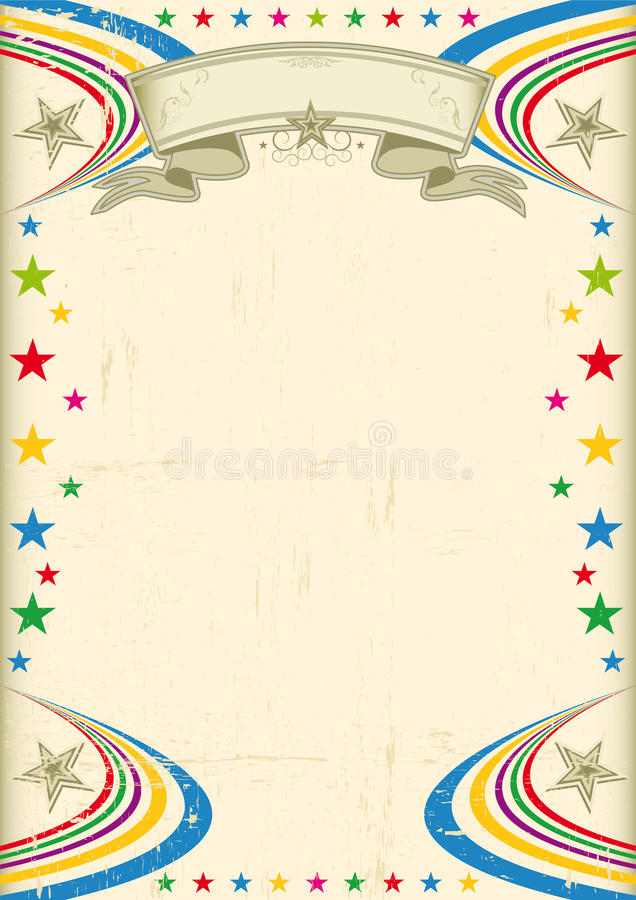 Multicolor fiesta poster. A vintage champagne color poster with multicolor stars for your advertising royalty free illustration
