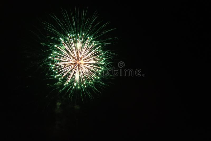The Color of Fireworks. Multicolor Fireworks display. Night time. Charlotte North Carolina. July Fourth. Independence Day. New Years Eve. Labor Day. Celebration stock image