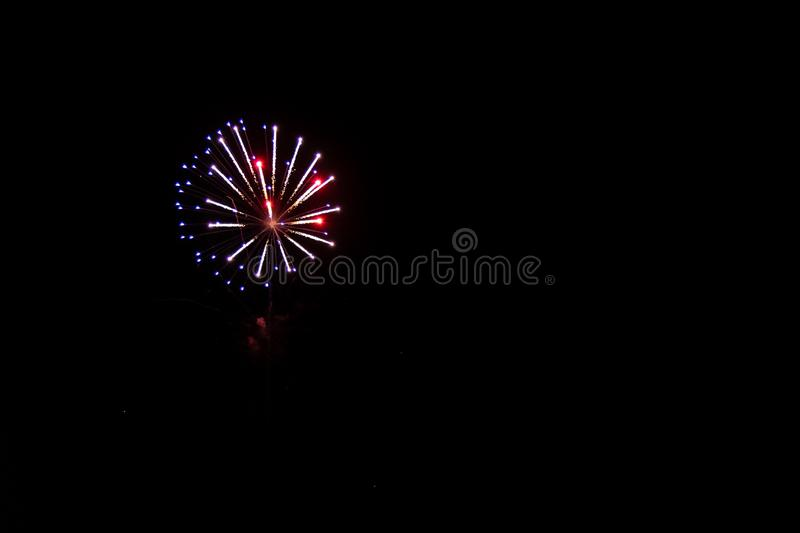 The Color of Fireworks. Multicolor Fireworks display. Night time. Charlotte North Carolina. July Fourth. Independence Day. New Years Eve. Labor Day. Celebration royalty free stock images