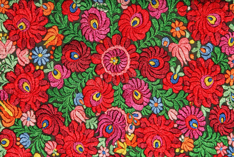 Multicolor floral hand embroidery pattern stock image