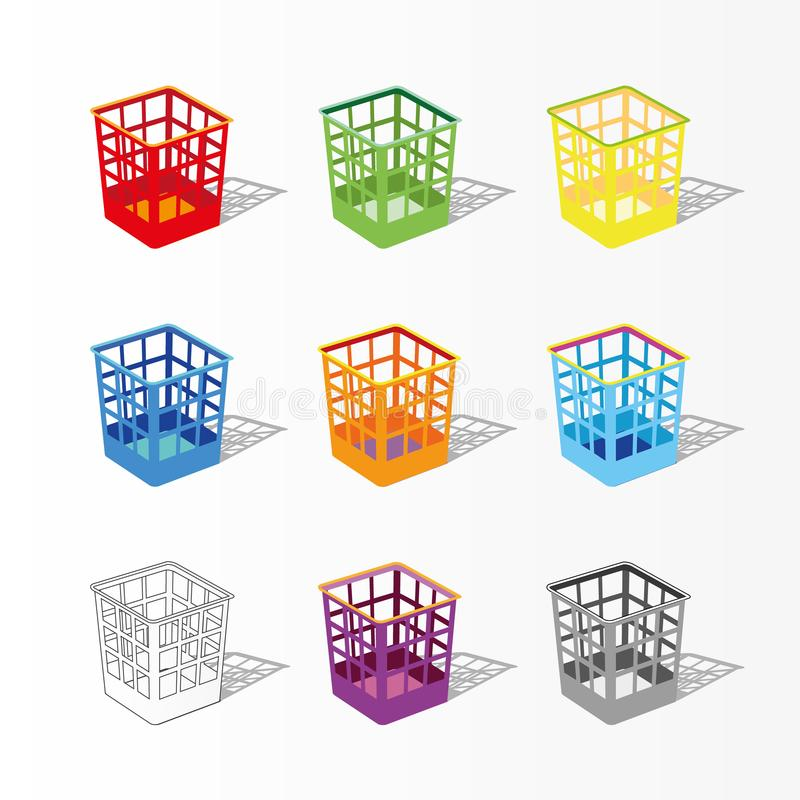 Multicolor garbage can for paper. Plastic basket set, trash bins on white background. Dustbin with shadow stock illustration