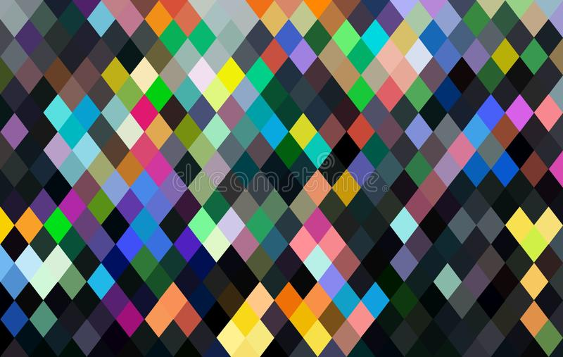Multicolor geometric pixels pattern. Black pink green blue yellow mosaic abstract wallpaper. stock illustration