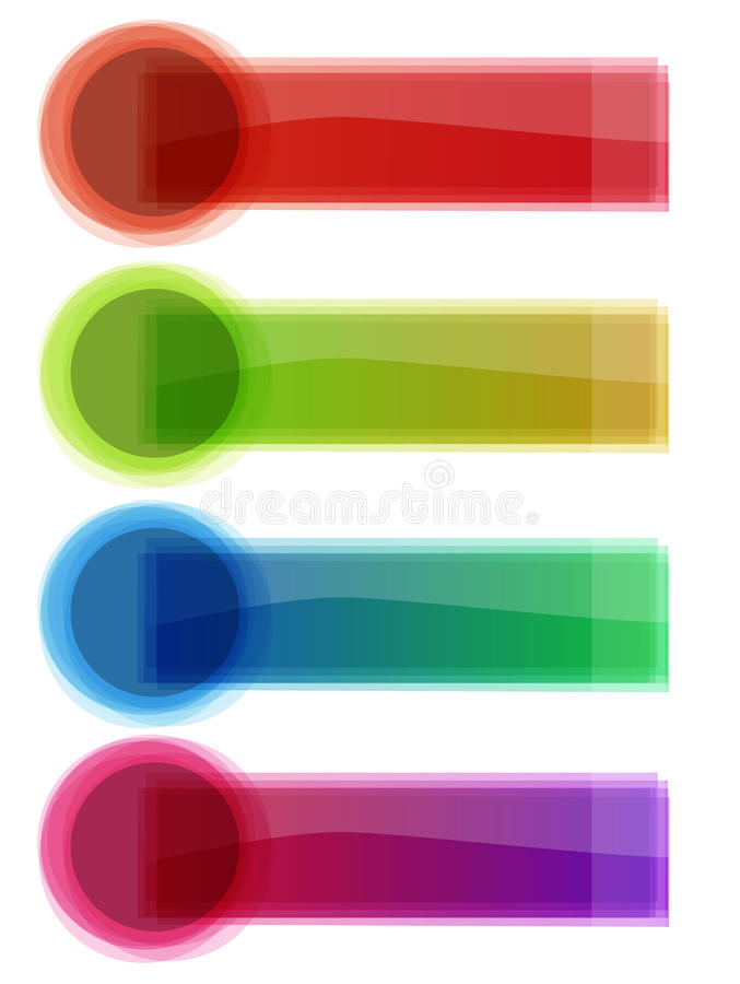 Multicolor glass banners. Come in red, green, blue, purple. Fully . Enjoy royalty free illustration