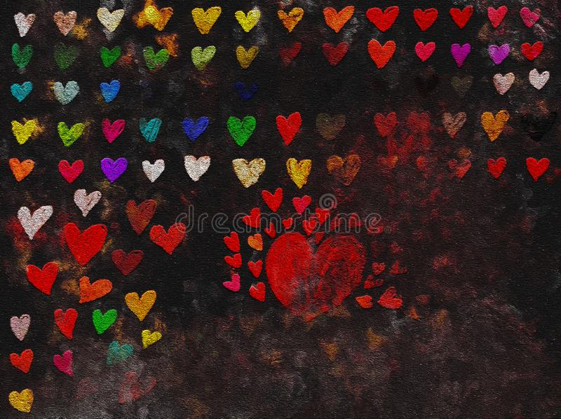 Multicolor glitter Hearts border Grunge hand drawn painting. In dark background. Love theme for poster, gift certificate, banner royalty free stock photography