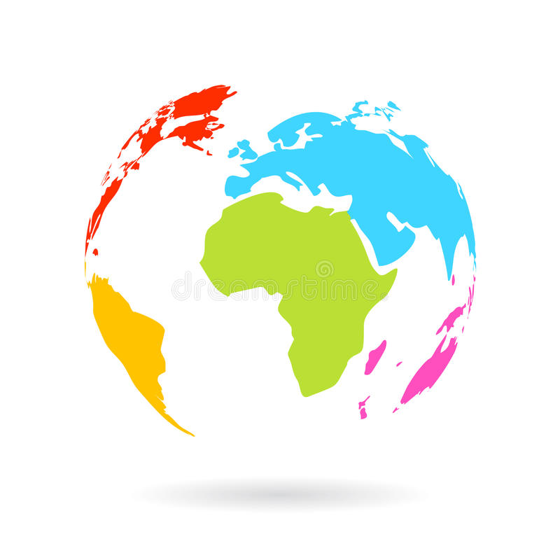 Multicolor globe icon. Isolated on white background vector illustration