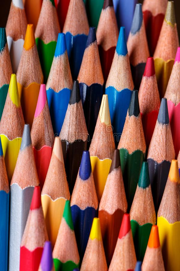 Multicolor group of cute wooden pencils. Drawing with pencils. stock photos