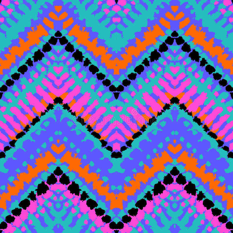 Multicolor hand drawn pattern zigzag stock illustration