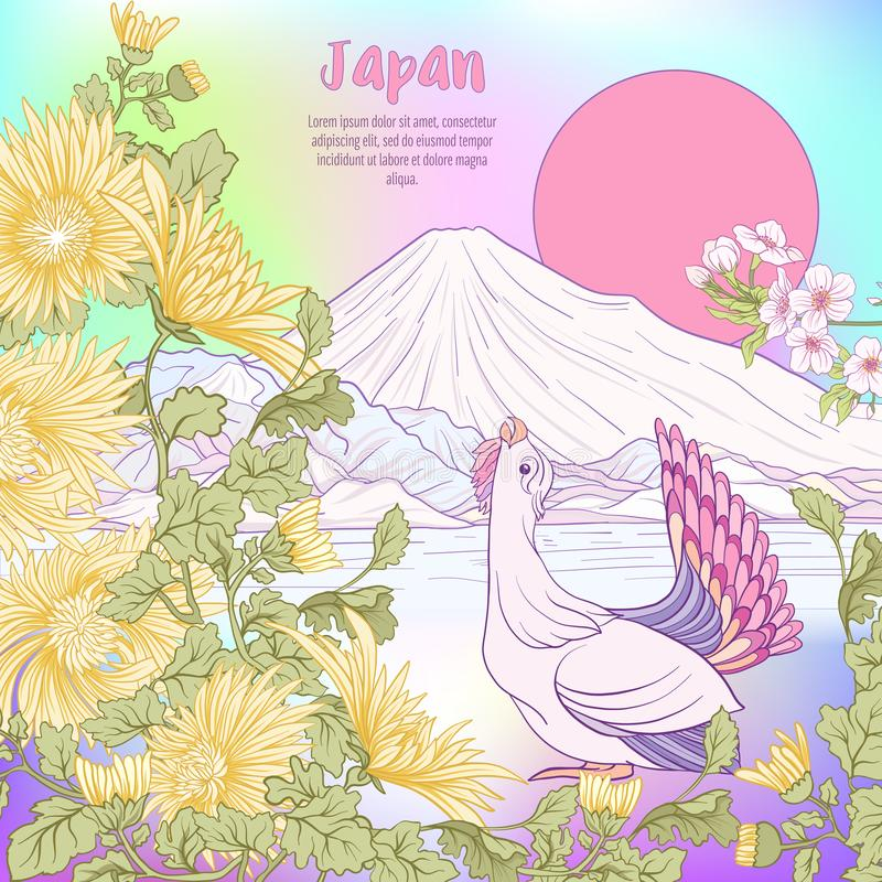 Multicolor illustration Japanese Landscape with Mount Fuji and t. Radition flowers and a bird. Poster or postcard. Vector stock vector illustration