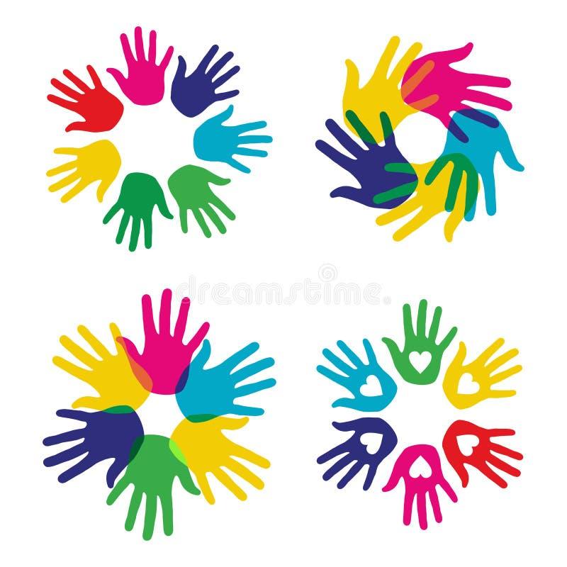 Multicolor inställda mångfaldhänder royaltyfri illustrationer