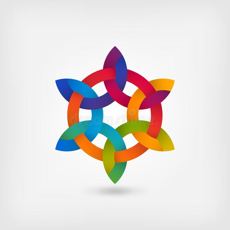 Multicolor intertwining abstract symbol in circle royalty free illustration