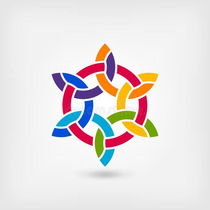 Multicolor intertwining abstract symbol in circle stock illustration