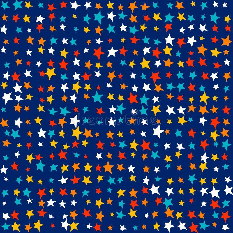 Multicolor jaskrawe gwiazdy, przypadkowi żywi kolory - Śliczni dzieciaki deseniują tło ilustracja wektor