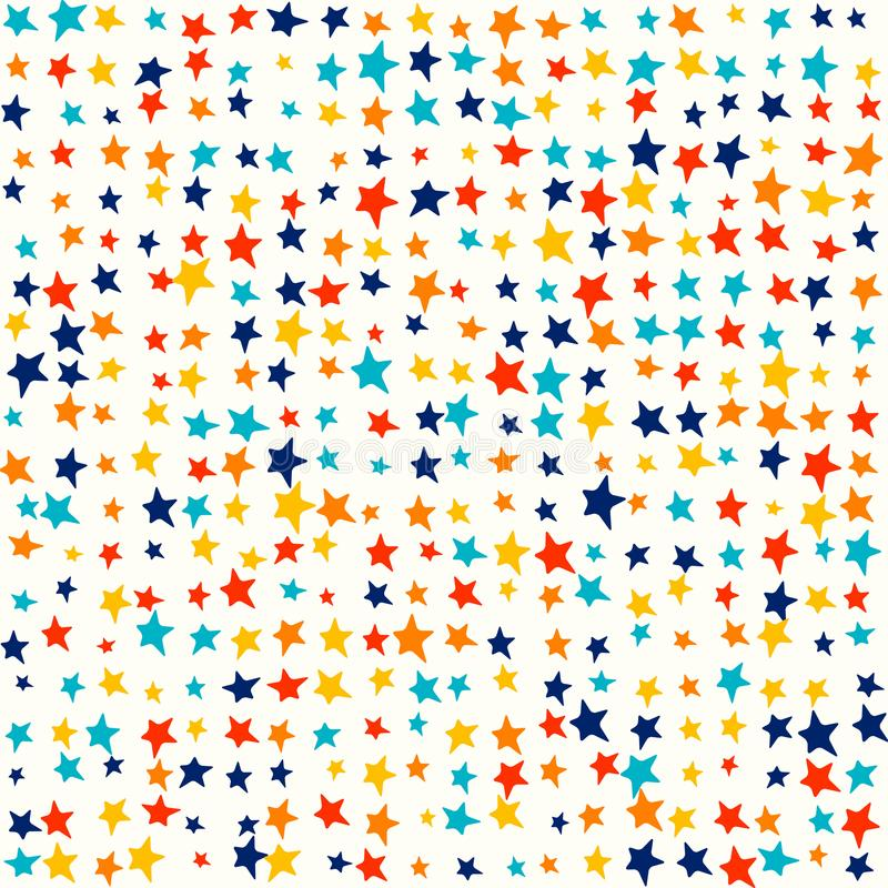 Multicolor jaskrawe gwiazdy, przypadkowi żywi kolory - Śliczni dzieciaki deseniują tło royalty ilustracja