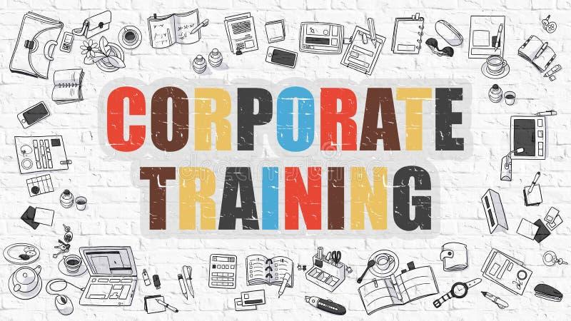 Multicolor Korporacyjny szkolenie na Białym Brickwall Doodle styl ilustracja wektor
