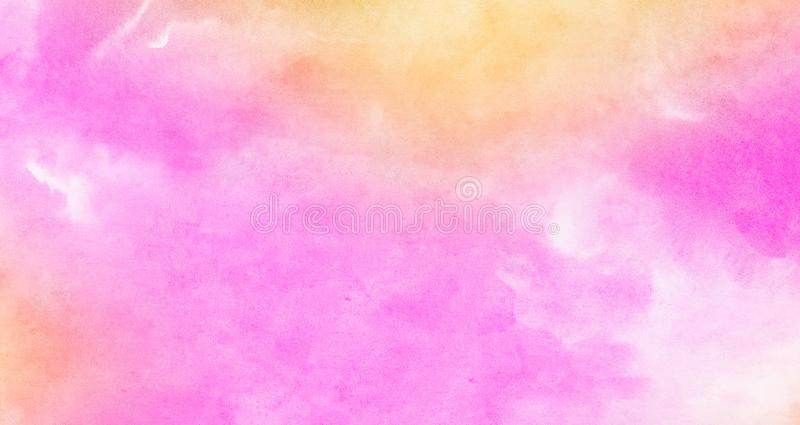 Multicolor light red, pink and yellow shades watercolor background. Aquarelle paint paper textured stain canvas element. For text design, greeting card royalty free stock images