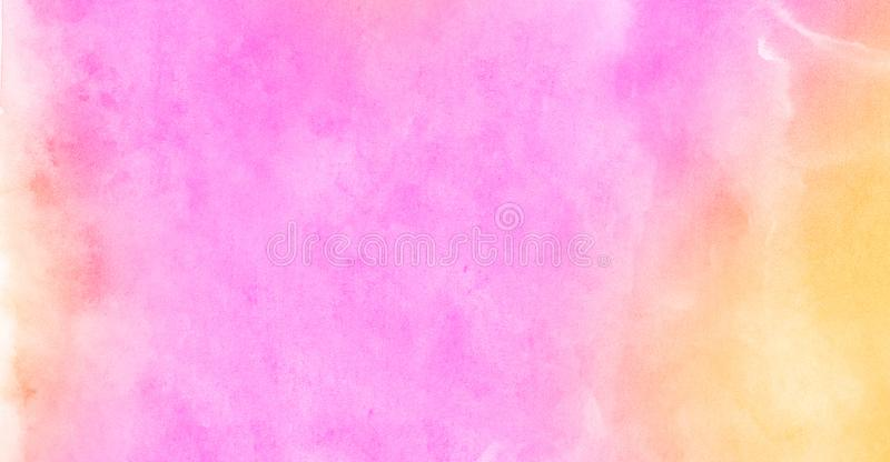 Multicolor light red, pink and yellow shades watercolor background. Aquarelle paint paper textured stain canvas element. For text design, greeting card royalty free stock photo