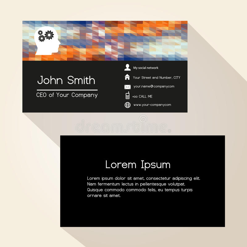 Multicolor low polygon colorful business card design eps10 stock illustration