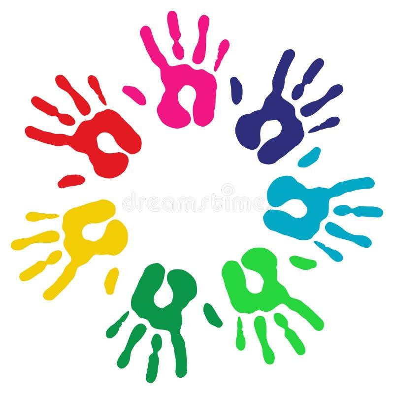 Multicolor mångfald hands cirkeln stock illustrationer