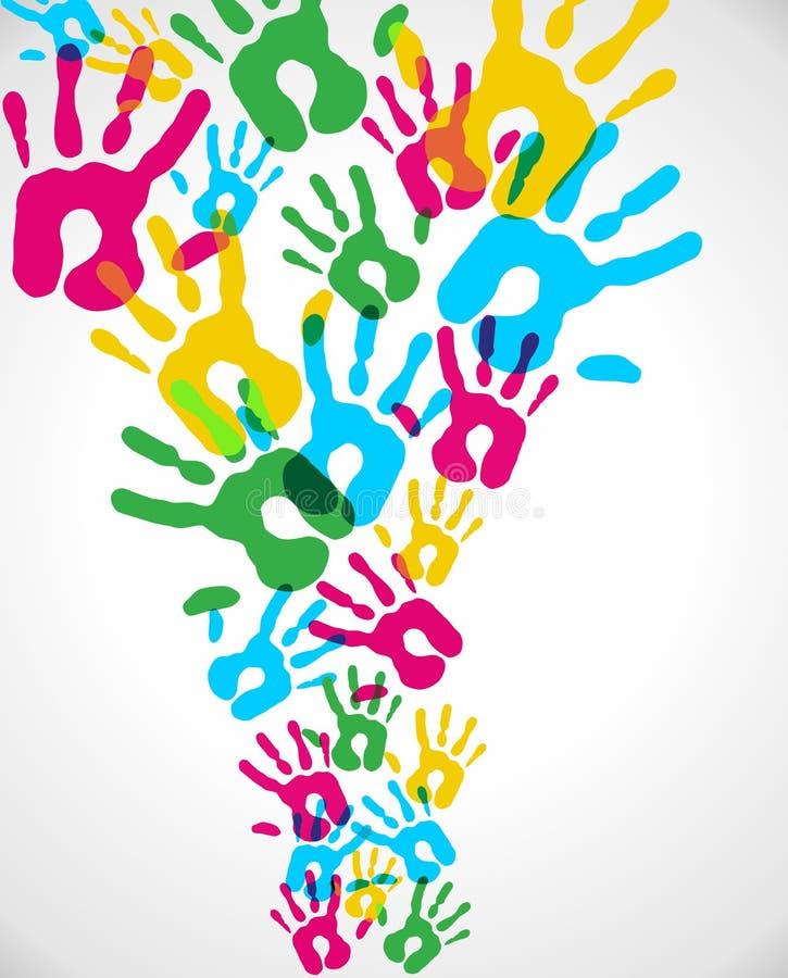 Multicolor mångfald hands färgstänk royaltyfri illustrationer