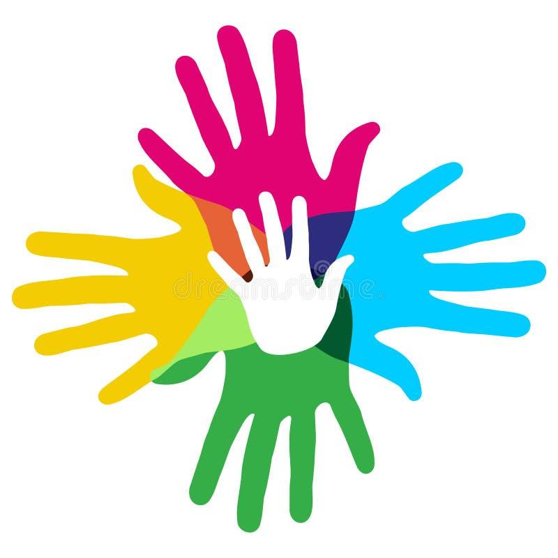 Multicolor mångfaldhänder vektor illustrationer