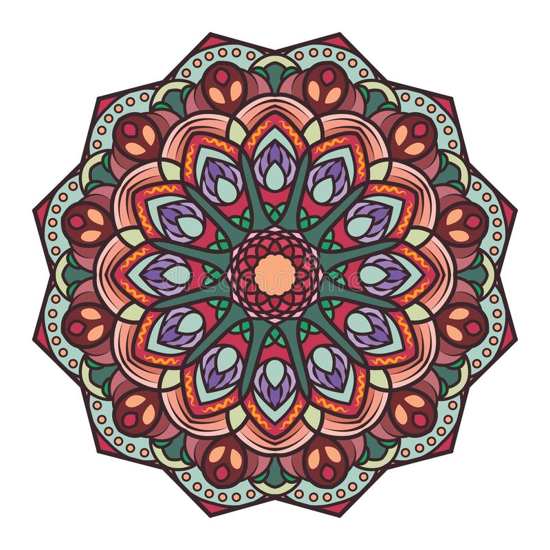 Mandala design with intricate pattern. Multicolor mandala design with intricate pattern vector illustration
