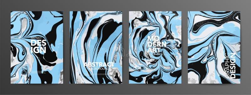 Multicolor marbled paper vector banner set vector illustration