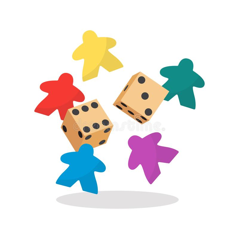 Multicolor meeple and dice vector illustration. Symbol of family board games royalty free illustration