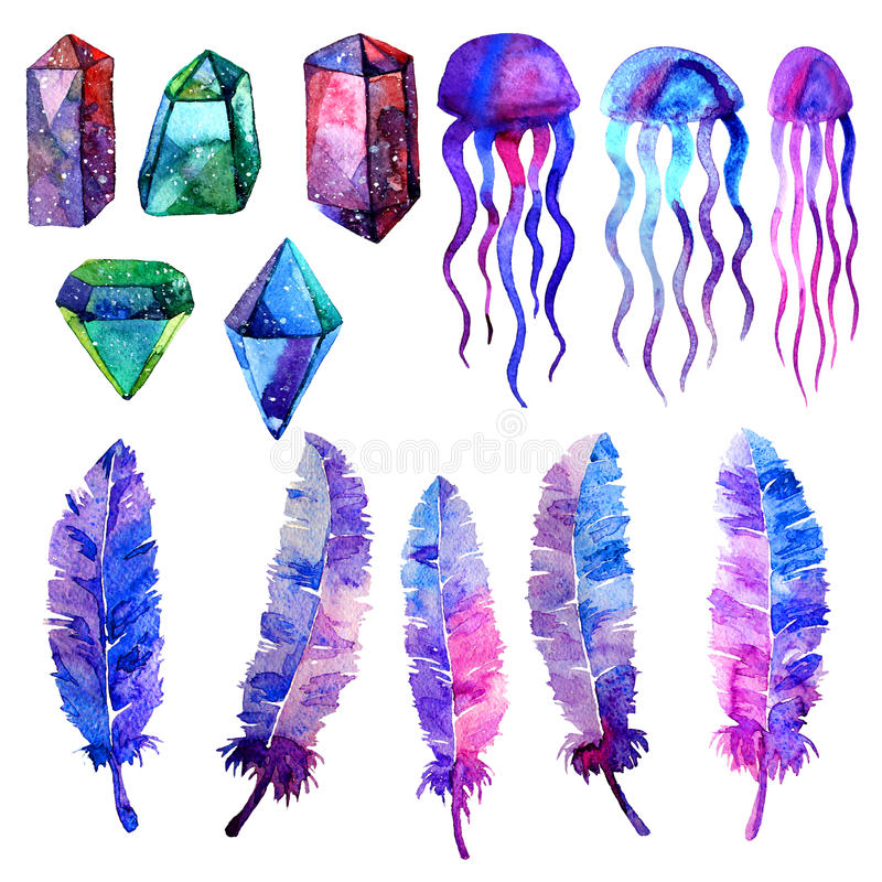 Multicolor minerals. Watercolor illustration of crystal, jellyfish and bird feathers. Isolated on white background. Elements for wallpaper, textile, seamless royalty free illustration