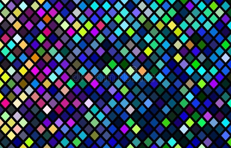 Multicolor mozaika wzór Różowy błękitnej zieleni piksli żółty tło Kreatywnie intensywni piksle ilustracyjni ilustracji