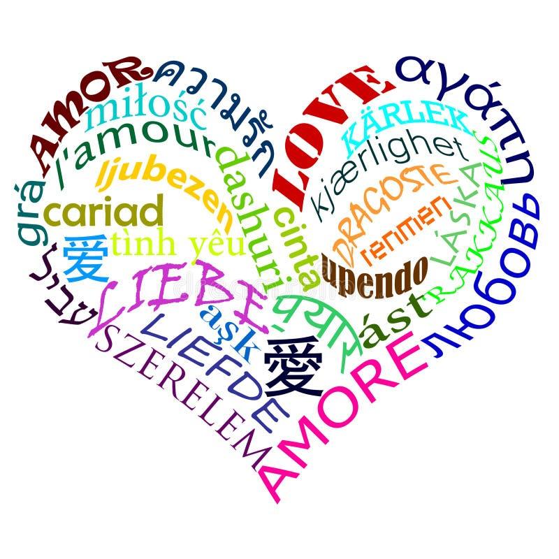 Multicolor multilíngue do amor ilustração stock