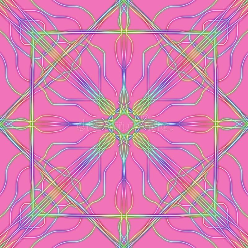 Multicolor neon hand drawn ornaments on a pastel pink background, kaleidoscope style illustration vector illustration