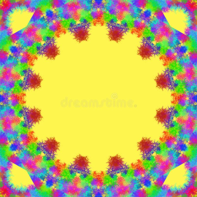 Multicolor paint splashes forming a circle frame on a yellow background. Multicolor paint splashes forming circle frame yellow background backdrop illustration royalty free stock photo