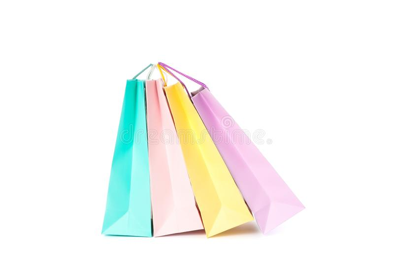 Multicolor paper bags isolated. On white background stock image