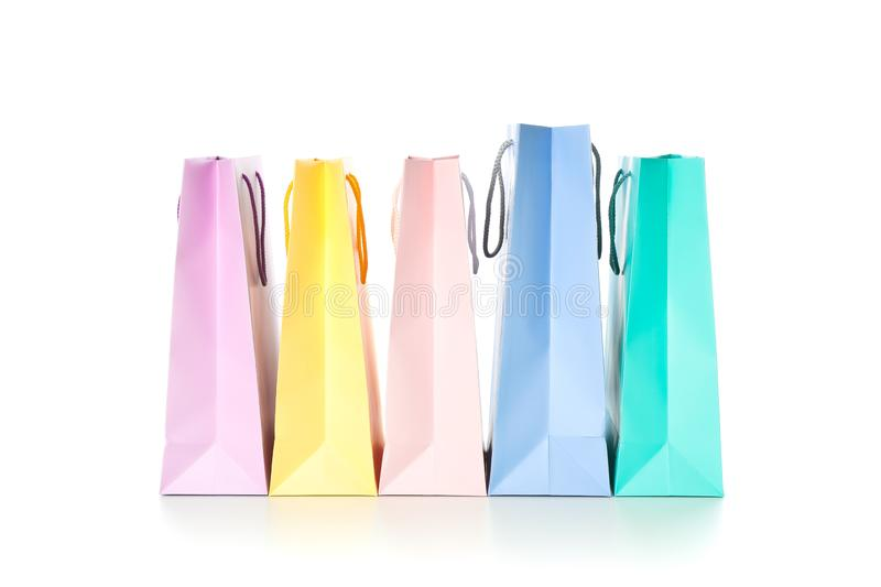 Multicolor paper bags isolated. On white background royalty free stock photo