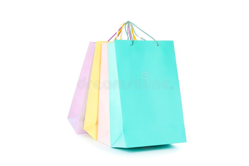 Multicolor paper bags isolated. On white background stock photography