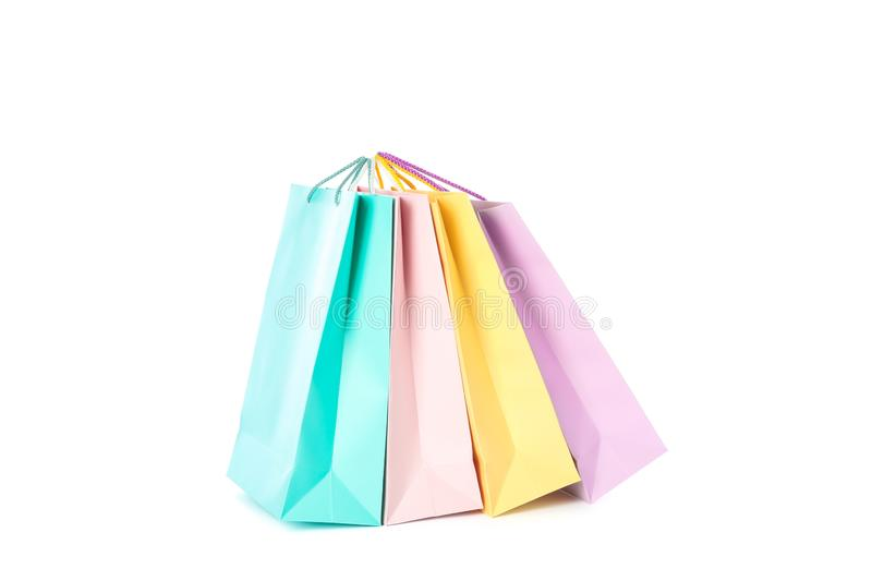 Multicolor paper bags isolated. On white background stock images