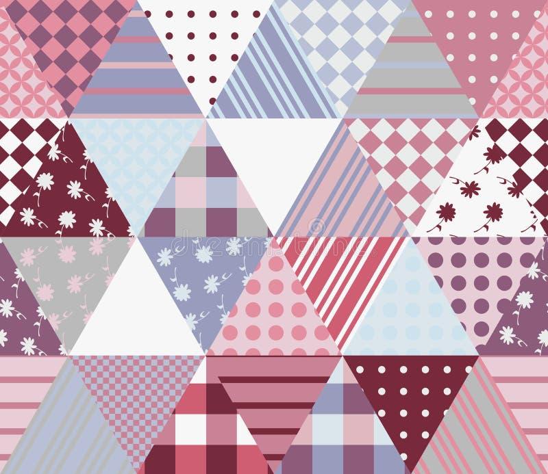 Multicolor patchworku wzór Bezszwowa wektorowa ilustracja kołderka royalty ilustracja