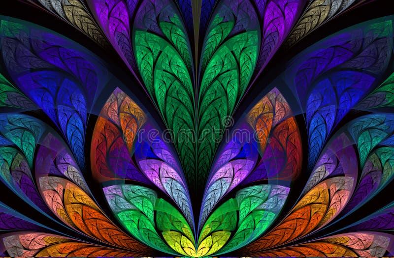 Multicolor pi?kny Drzewny ulistnienie komputer generuje grafiki royalty ilustracja